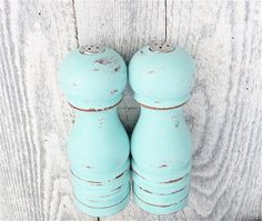 Look for wooden shakers to upcycle  SHABBY CHIC Aqua Salt and Pepper Shakers by HuckleberryVntg, $24.00