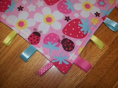 Pink Strawberry & Flowered Taggie Blanket
