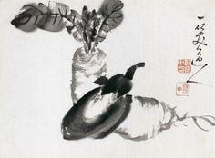 "Guo Yingzhong ""Radish and eggplant."" Museum of Fine Arts, Boston."