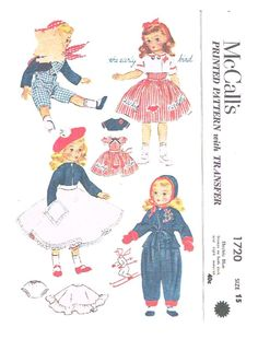 Reproduced sewing pattern, for size 15 inch doll, no transfer at this time, to fit the sweet sue dolls. Available at http://www.buggsbooks.com/index.php?page=vintagedoll