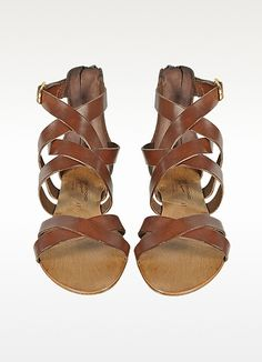 Palazzo Bruciato Nina Brown Leather Sandal | FORZIERI