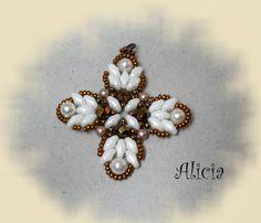 Beaded Cross white and bronze inspiration = Bisuteria Alicia: also matching bracelet