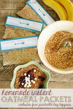 Homemade Instant Oatmeal Packets with free printable bag toppers bag topper