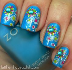 Let them have Polish!: 31 Day Challenge blue christmas, funky nail art, spring nails, flower nails, nail arts, flower power, challeng, nail ideas, christmas flowers