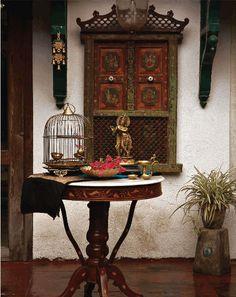 chinoiserie, tea time, red, krishna, green, colors, bells, design, bohemian