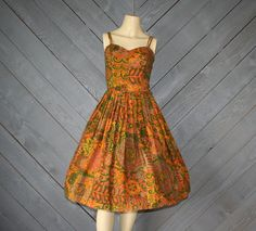 50s tribal print full skirt rockabilly dress