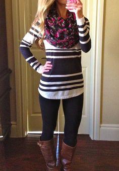 Forever 21 leggings, Old Navy stripe boat neck top, Target floral print infinity scarf, Steve Madden Cognac Boots.