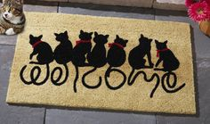 This would be at my front door :)                                    Welcome Kitties Front Door Doormat