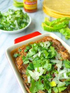 Shredded Beef Tacos with Cilantro and Onions - The Lemon Bowl #tacos #glutenfree #beef
