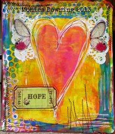 Heart full of Hope...altered Gelli print... ♥