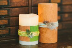 Create a Wood Veneer Wrapped Candle for your tablescape. Find out how to decorate a candle and use them throughout your home.