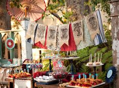 fab with turq buffets, patriotic party, dessert tables, party banners, sweet tables, parties, vintage party, buntings, 4th of july