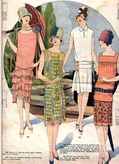 Jazz | Vintage 1920s Flapper Style & Fashion. Love the Pink and Green ruffled dresses!