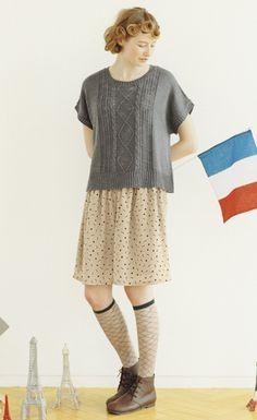 シロップ.|着まわし便利な ケーブル編みの半袖ニットトップスの会|フェリシモ