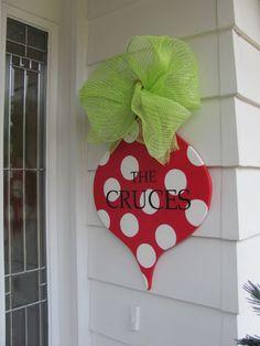decor hand, polka dots, christma door, back doors, gift ideas, ornament, front doors, deco mesh, christmas door