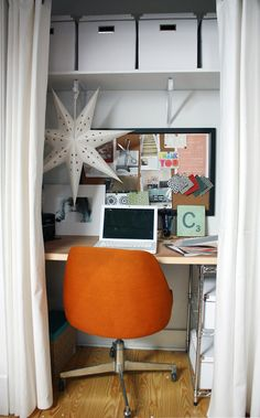 Not a bad idea for a small space: office in a closet like this.