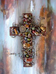 Military Wall Cross - Wire Wrapped Beaded Wall Cross