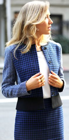 The Classy Cubicle: Black and Blue. The fashion blog for professional women who need office style inspiration and work wear ideas for the corporate world and beyond. {ann taylor, power pieces, skirt suit, herringbone, tweed, ankle boots, booties, fall fashion, cobalt}