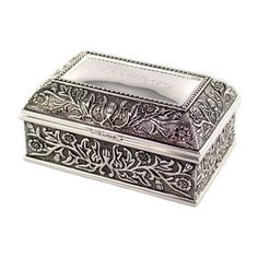 Silver Plated Floral Chest Jewelry Box - Hand Engraved on Etsy, $21.50