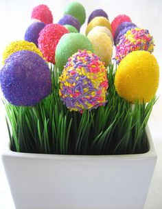 Easter Cake Pops ... in a flower pot with fake grass ... so cute! ~ Easter.