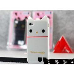 White Rilakkuma Cute Cat TPU Soft Case For iPhone 4