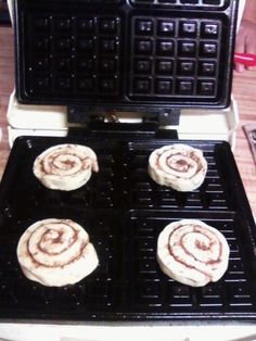 Oh my....does it get any easier than this?  I don't think so.  Refrigerator Cinnamon rolls on a waffle iron.