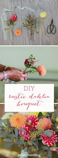 Do It Yourself Rustic Dahlia Bouquet via Project Wedding