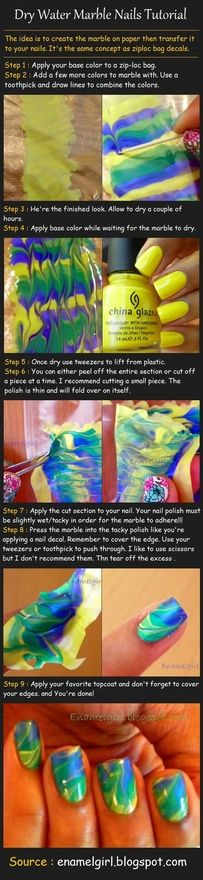 nail art tutorials, dri water, nail polish, water marble nails, nail arts, marbles, nail tutorials, marbl nail, hair