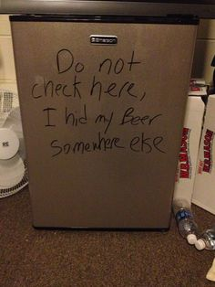 ROOM CHECKS ARE COMING SOON, SO MY ROOMMATE TOOK PRECAUTIONS.  FILED UNDER: #FUNNY #LOL #BEER #HIDING #COLLEGE #SEEMS LEGIT beer pic, laugh, colleges, colleg life, funni beer, college life, beer visit, humor, funni awesom