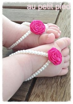 Baby barefoot sandals, baby girl jewelry, baby shoes, baby girl, baptism gift ,photo prop, pink flower  , baby shower, newborn girl gift on Etsy, $22.00