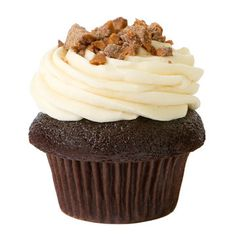 """""""Toffee"""" Dark Cocoa Cupcake with Toffee Icing topped with Skor bits"""
