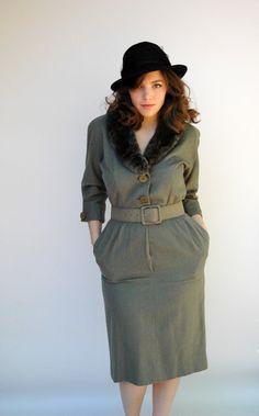 Vintage 1940s Dress  Private Eye  Moss by WildHoneyPieVintage, $195.00