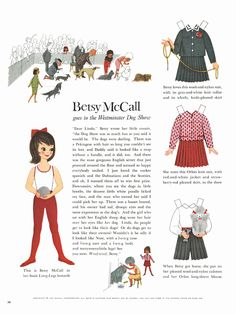 Betsy McCall goes to the Westminster Dog Show (lucky gal!). #vintage #paper #dolls #paperdolls #1960s #nostalgia