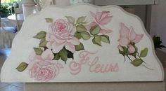 HP ROSES PAINTING FLEURS ON BEVELED SCALLOPED BOARD PINK SHABBY COTTAGE FRENCH http://www.ebay.com/itm/121369504037?ssPageName=STRK:MESELX:IT&_trksid=p3984.m1555.l2649