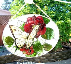 red flower and butterfly stained glass by ALEXLITTLETHINGS on Etsy