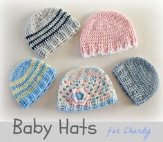 Baby crochet hats for charity by Lanas e Hilos