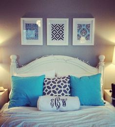 wall decor, bedroom idea, pillow, color schemes, guest bedrooms, framed fabric, monogram, guest rooms, framed prints