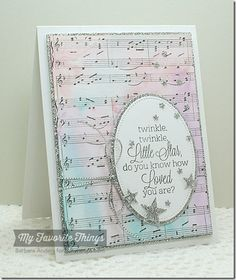 Beautiful Baby, Sheet Music Background, Oval STAX Die-namics, Pierced Oval STAX Die-namics, Scattered Stars Die-namics, Sun Moon and Stars Die-namics - Barbara Anders #mftstamps