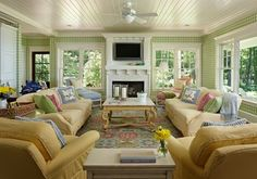 A Joyful Cottage: 35 Cottage Style Living Rooms that Inspire...So much seating in this room