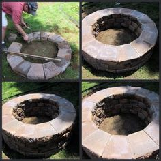 Building a fire pit. This is perfect! Even love the pea gravel they put around it, etc..