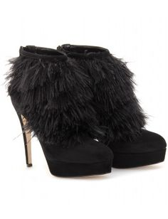 mytheresa.com - Brian Atwood - OSTRICH FEATHER AND SUEDE ANKLE BOOTS - Luxury Fashion for Women / Designer clothing, shoes, bags - StyleSays