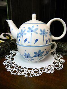 Indra Single Serve Teapot Tea Pot Delightful  by TheVintageTeacup, $25.00