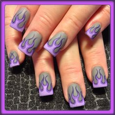 Purple matte flames by Oli123 - Nail Art Gallery nailartgallery.nailsmag.com by Nails Magazine www.nailsmag.com #nailart #nailart #nails #fingernails