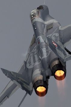 """Mig 29 """" - Ballistic Climbout by PhoenixFlyer2008 on Flickr.  Via Flickr: Polish Mig 29 Display pilot climbs up and away from Fairfordwww.airteamcanon.co.uk"""
