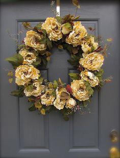 Peony Wreath  Winter White Wreath  Cream by WreathsByRebeccaB, $68.00
