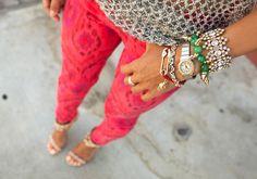 song, fashion, printed pants, color, accessori, pink pants, outfit, friendship bracelets, arm candies