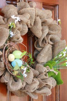 Easiest Spring Burlap Wreath