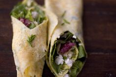 omlette wraps with cheese and greens inside...