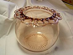 Pink Depression Glass Bowl with Fancy Rim