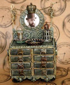altered dressers, matchbox dresser, steampunk dresser, mini